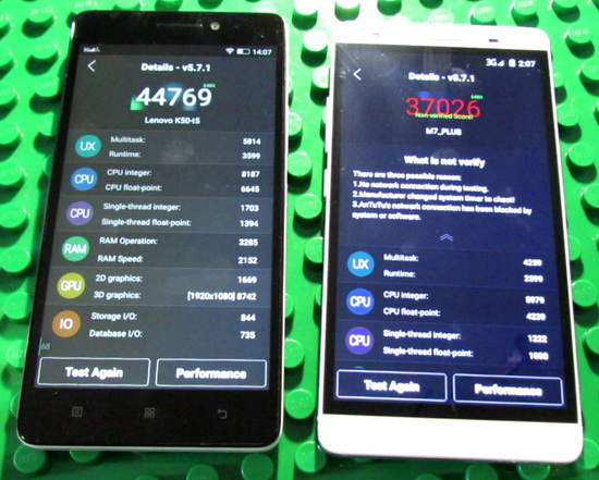 Lenovo K3 Note K50-T5 vs  Mlais M7 Plus