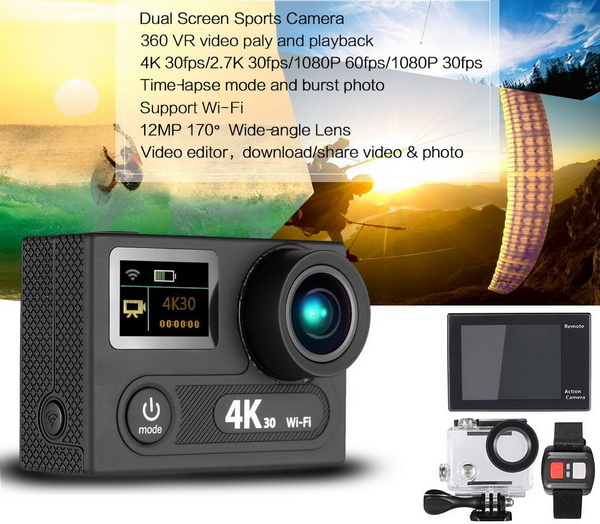 Dual Screen 12MP Sports Action Camera