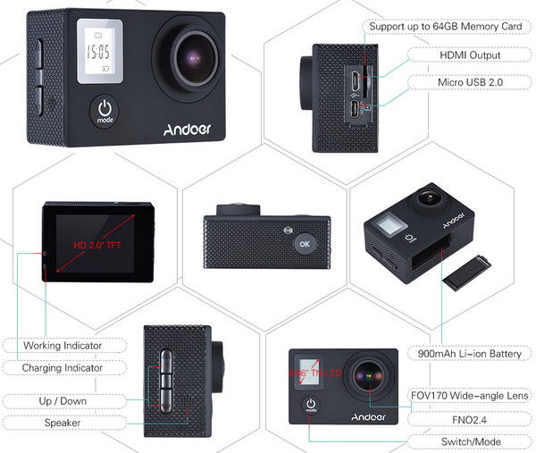 Andoer 4K 16MP Action Camera