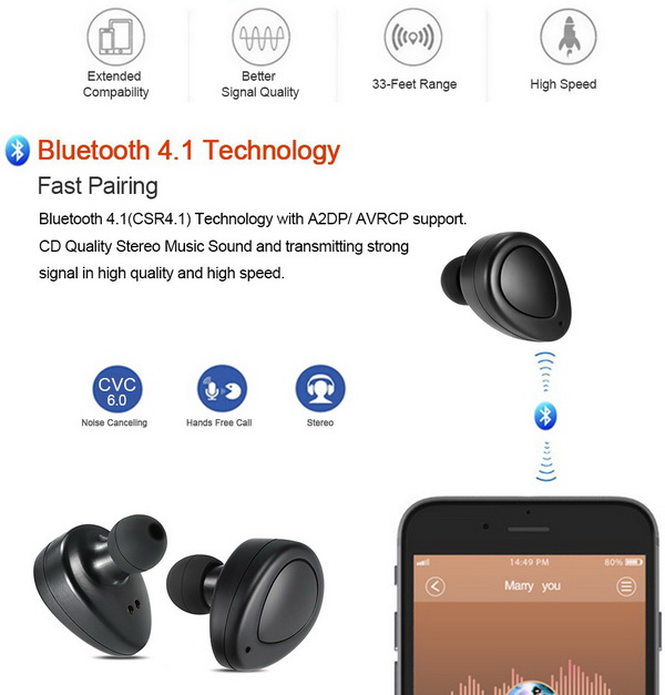 K2 True Wireless Bluetooth 4.1 Headphone