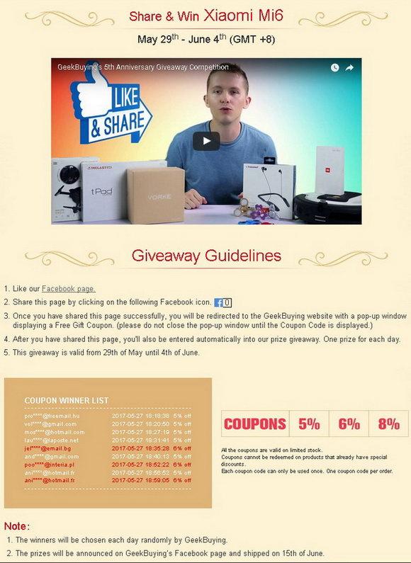 Geekbuying 5th Anniversary