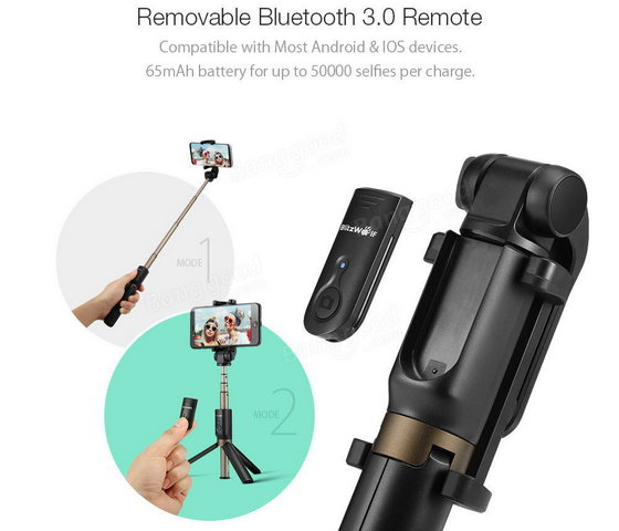 blitzwolf bw bs3 bluetooth tripod selfie stick presale banggood blitzwolf arena. Black Bedroom Furniture Sets. Home Design Ideas
