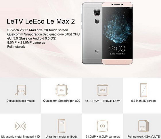leeco letv le max 2 x820 with best price huge stock. Black Bedroom Furniture Sets. Home Design Ideas