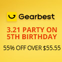 3.21 5th Gearbest Anniversary Party On: 55% OFF Over $55.55 promotion
